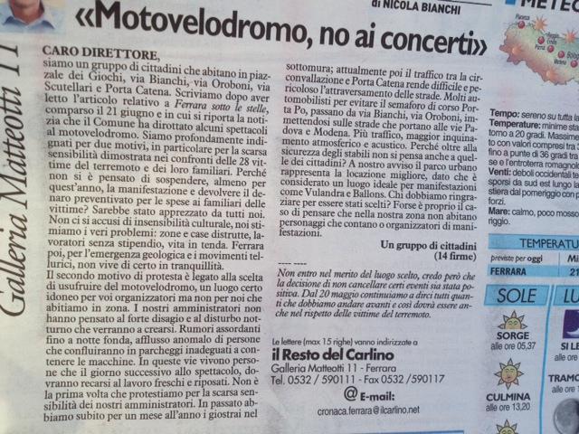 giornale ferrara motovelodromo