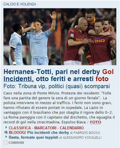 scontri derby roma La Repubblica.it - Homepage