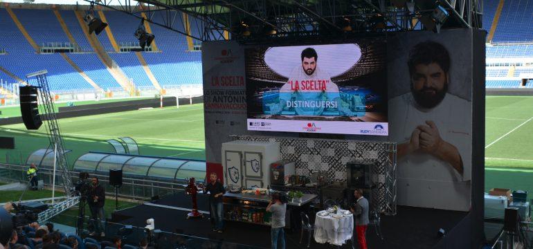 rudy bandiera con cannavacciuolo allo stadio olimpico roma